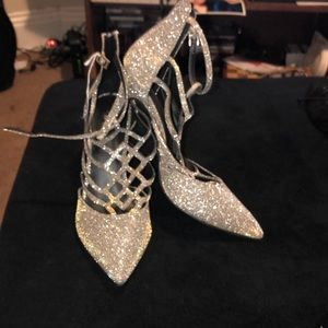 Gold and silver heels between 3-4 inch heels